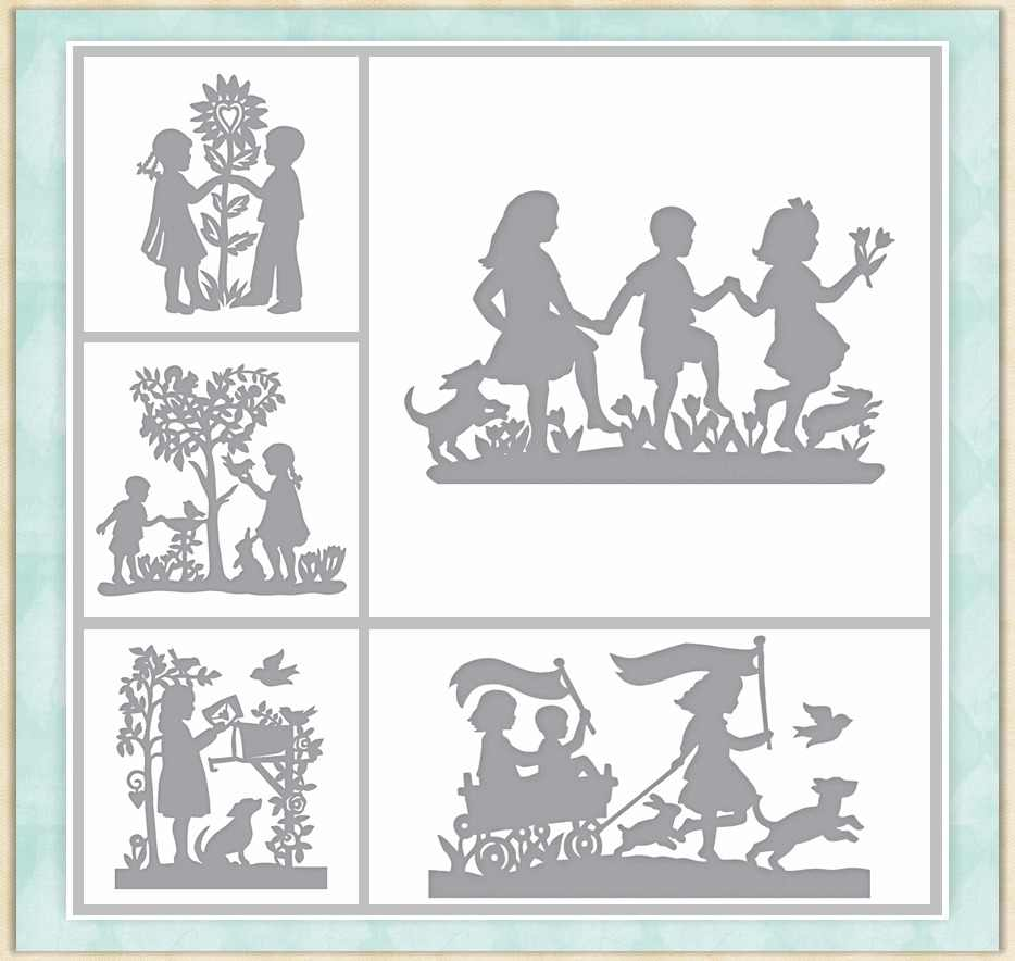 Boys Girls Kids Playing Tree Pattern Metal Cutting dies Stencil Scrapbooking dies Embossing Handcrafts Paper Card DIY Model