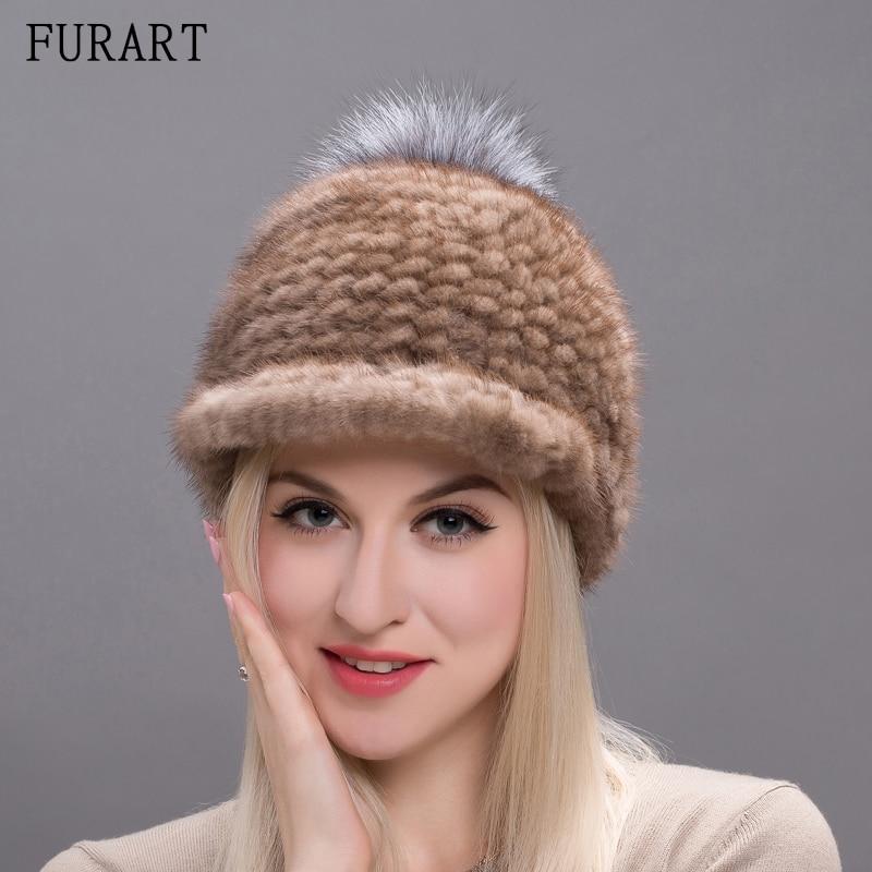 Real Mink Fur Hats For Women Winter Knitted Mink Fur Cap Pom Poms 2017 Hot Sale Brand New Warm Female Hat Soft Chapeau BZ17-01