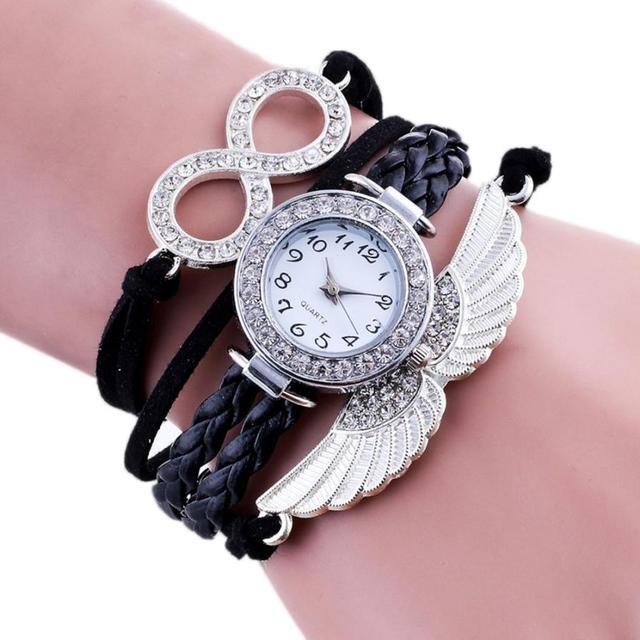 XINIU Women Bracelet Watches Angel Wing Wrap Around Watch Synthetic PU Leather C