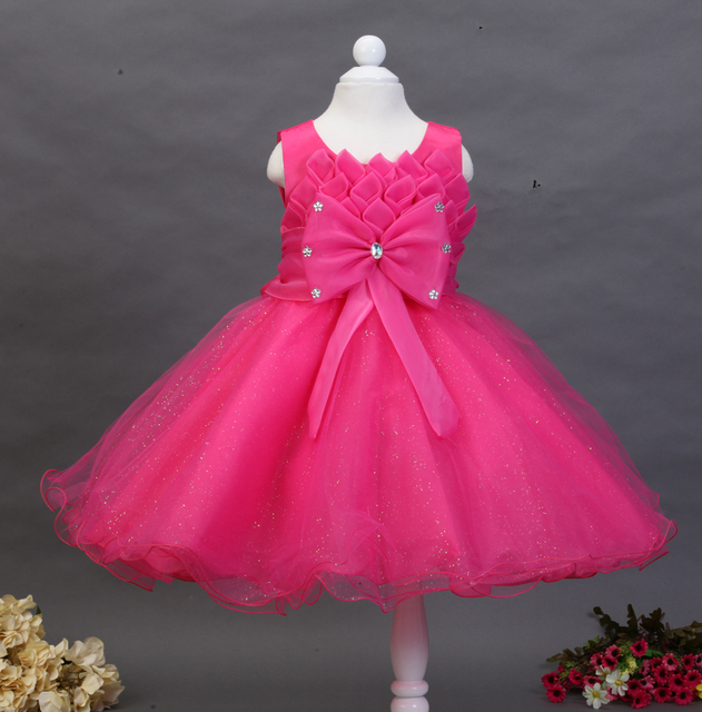 9dd4e7cf7 Wholesale Top grade children pink leaves with Bow princes dress ...