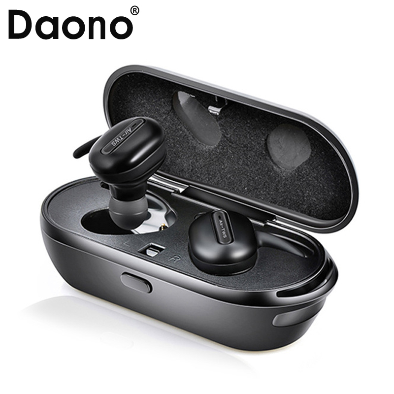 DAONO TWS T03 Invisible Headphones Stereo Hands-free Bluetooth Headset Twins Wireless Earphones and Power Bank box