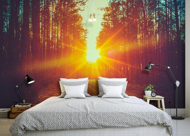 Pin amanecer en bosque wallpapers on pinterest - Papel tapiz para pared ...