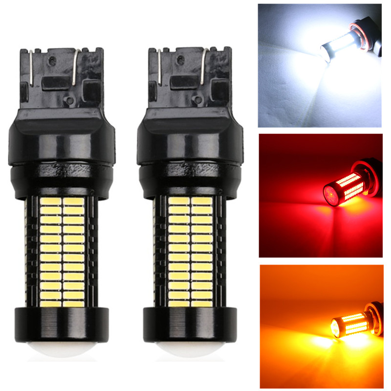 цена на 2pcs 1200Lm T20 W21W LED W21/5W LED WY21W 7440 7443 LED Bulb Car Brake Reverse Light 12V Lamp Turn Signal white yellow red