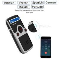 Siparnuo Solar Power Aux Bluetooth Car Kit Sun Visor Hands Free Speakerphone with USB Bluetooth Russian Spanish French Voice