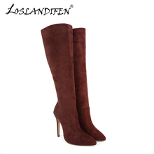 Fashion Casual Women's Over Knee Boots Solid Velet Long Boot In Winter Pointed Toe High Heels flock Thin with Shoes 769-3VE