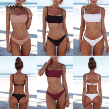 Pure color bikini push up sexy swimwear two-piece suits brazilian summer swimming suit for women 2019