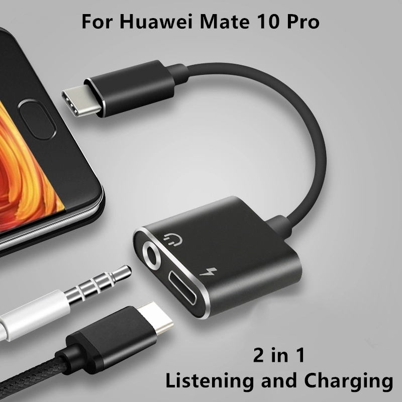 Baiscxst Type-C Aux Audio Cable Adapter USB Type C to 3.5mm Headphone Jack 2 in 1 Charger Adapter For Huawei Mate 10 Pro