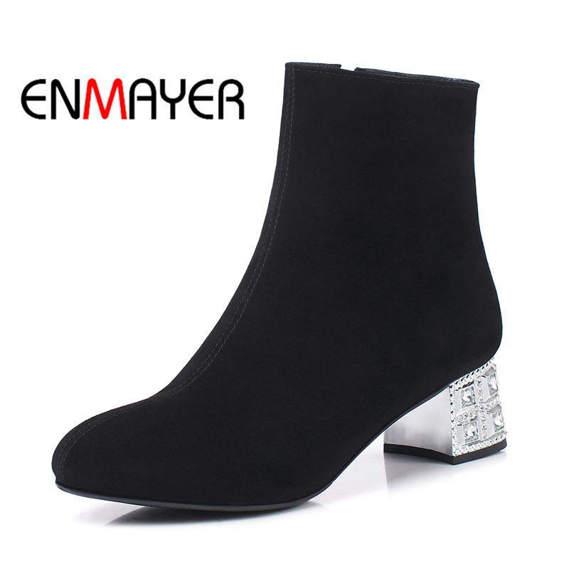 ENMAYER Winter Wram Women Boots Square Heel Zippers Ankle Boots Med Heel Suede Materials Black Color Large Size Shoes for Women ladies boots 2017 casual winter black suede round toe square heel ankle boots for women custum large size zipper shoes us 4 15 5