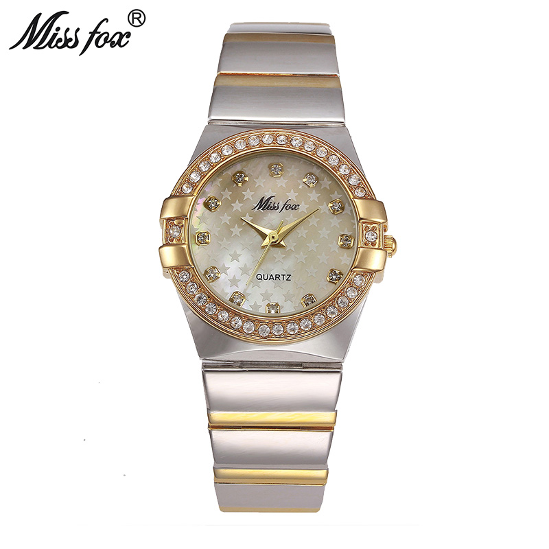 MISSFOX Gold Watch Fashion Brand Rhinestone Relogio Feminino Dourado Timepiece Women Xfcs Grils Superstar Original Role Watches