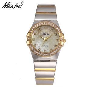 Image 1 - MISSFOX Gold Watch Fashion Brand Rhinestone Relogio Feminino Dourado Timepiece Women Xfcs Grils Superstar Original Role Watches