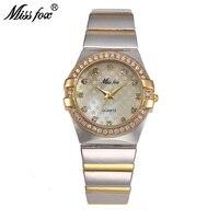 MISSFOX Gold Watch Fashion Brand Rhinestone Relogio Feminino Dourado Timepiece Women Xfcs Grils Superstar Original Role Watches
