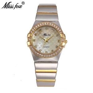 Image 1 - MISSFOX זהב שעון אופנה מותג ריינסטון Relogio Feminino Dourado שעון נשים Xfcs חורת סופרסטאר התפקיד המקורי שעונים