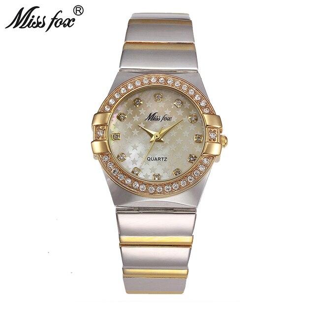 MISSFOX זהב שעון אופנה מותג ריינסטון Relogio Feminino Dourado שעון נשים Xfcs חורת סופרסטאר התפקיד המקורי שעונים