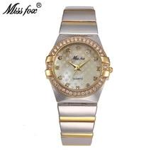 MISSFOX ทองนาฬิกาแฟชั่น Rhinestone Relogio Feminino Dourado นาฬิกาผู้หญิง Xfcs Grils Original บทบาทนาฬิกา