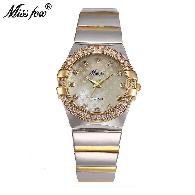 Miss Fox Gold Watch Fashion Brand Rhinestone Relogio Feminino Dourado Timepiece Women Xfcs Grils Superstar Original Role Watches