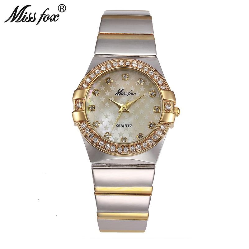 Miss Fox reloj de oro marca de moda rhinestone Relogio feminino Dourado reloj mujeres xfcs grils Superstar original papel Relojes