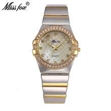 Missfox ouro relógio de moda marca strass relogio feminino dourado relógio de pulso feminino xfcs grils superstar original papel relógios