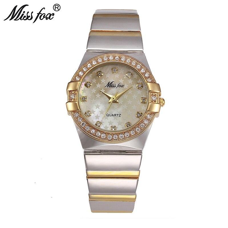Prix pour Mlle Fox Montre En Or Marque De Mode Strass Relogio Feminino Dourado Timepiece Femmes Xfcs Grils Superstar D'origine Rôle Montres