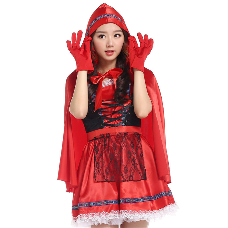 new high quality lovely Little Red riding hood Costume Halloween Masquerade princess cosplay Dress Carnival Party Club Costumes