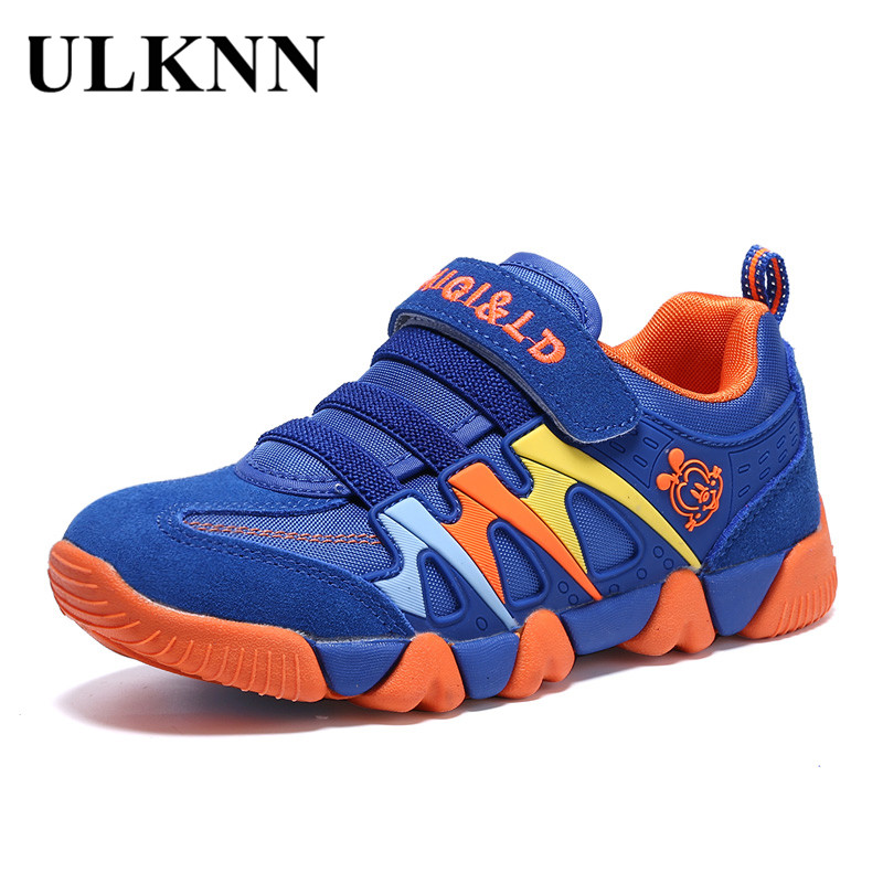 ULKNN Genuine Leather Kids Sport Shoes Children Sneakers For Boys Shoes Girls Spring Autumn Breathable Mesh Striped chaussure 2016 new shoes for children breathable children boy shoes casual running kids sneakers mesh boys sport shoes kids sneakers