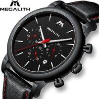 MEGALITH moda sport męskie zegarki Top marka luksusowe wodoodporny skórzany pasek zegarki kwarcowe mężczyźni zegar Relogio Masculino
