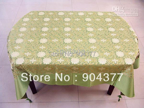 Gorgeous Green Damask Tablecloth Tassel Chinese Style Boutique Rectangle  Party Table Covers Size L 2 X
