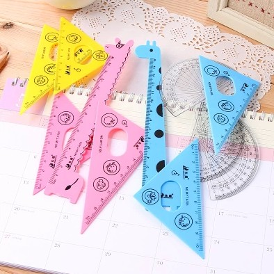 Cute Colorful Animal Ruler Set 4 Style Triangle Plate Straightedge Rulers A Set Super Kawaii School Student Gift