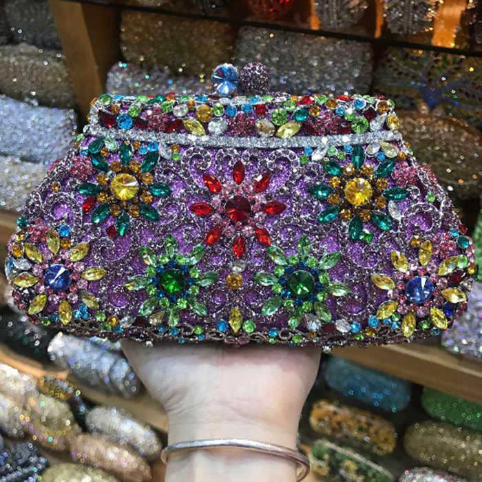 Женский Золотой/Серебряный/серый/фиолетовый клатч с кристаллами вечерние дамские сумочки и кошельки со стразами Свадебный вечерний клатч в стиле minaudiere