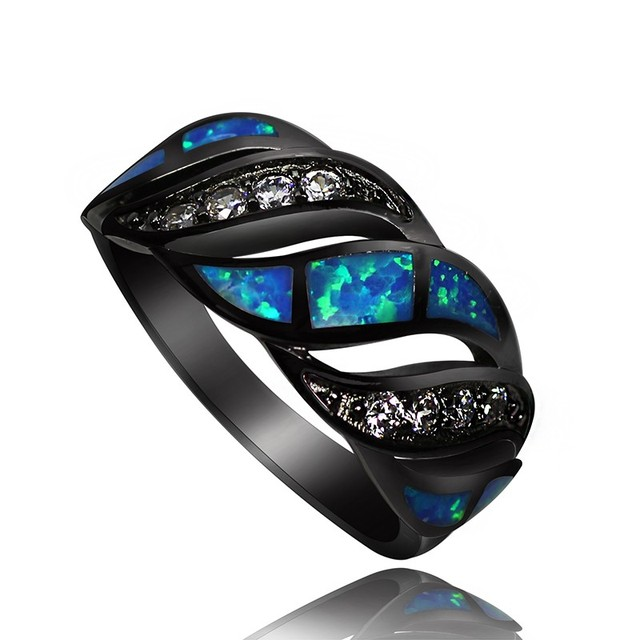 JZ0015 New Arrival Real Black Gold Filled Blue Fire Opal Rings for