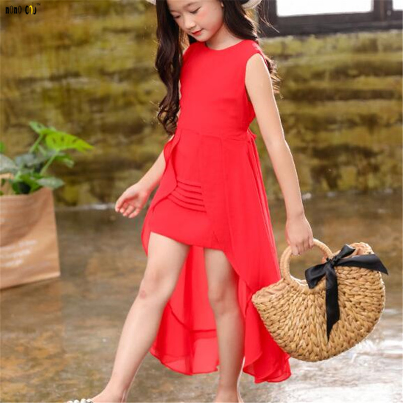 Image 3 - Big Girls Chiffon Dress 2018 Summer Sleeveless Irregular Elegant Princess Party Dresses 5 6 7 8 9 10 11 12 Years Kids Clothes-in Dresses from Mother & Kids
