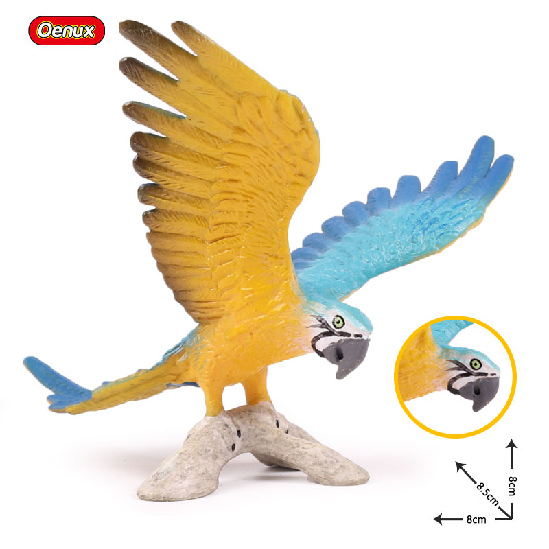 Oenux Kawaii Simulation Birds Parrot Flamingo Eagle Miniature Model Bird  Figurine Solid PVC Action Figures Toy For Kids Gift