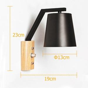 Image 2 - Nordic kreatywny przy łóżku lampa z przełącznikiem osobowości drewna + kutego żelaza kinkiet sypialnia badania Macaron E27 żarówka LED kinkiety