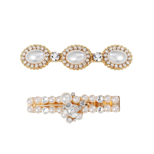 CHIMERA Simple Pearl Hairpins INS Korea Vintage Fashion Crystal Alligator Barrettes Duckbill Hair Clip Headwear for Women Girls