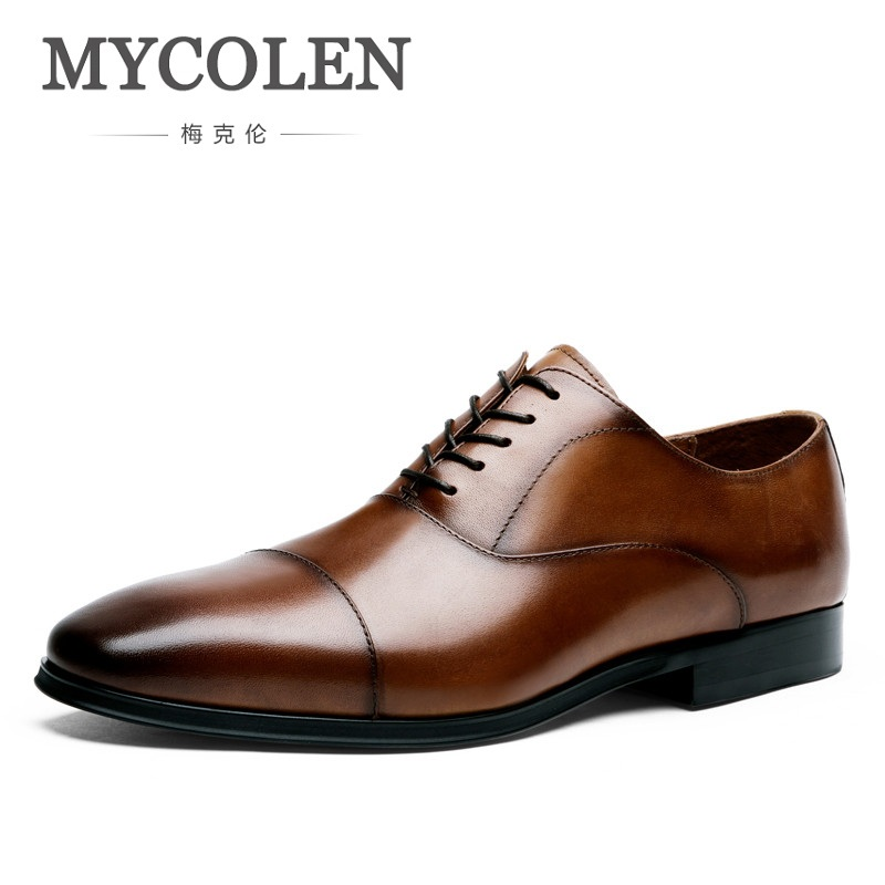 MYCOLEN New Business Dress Men Formal Shoes Wedding Square Toe Fashion Genuine Leather Shoes Flats Oxford Shoes For Men