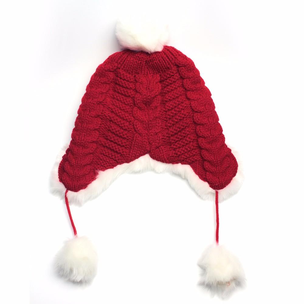 Woman Beanie Knitting Hat 2016 Happy Christmas Hats Bonnet Ladies Pompom Fur Snow Warm Skullies New Women\'s Winter Accessories (4)