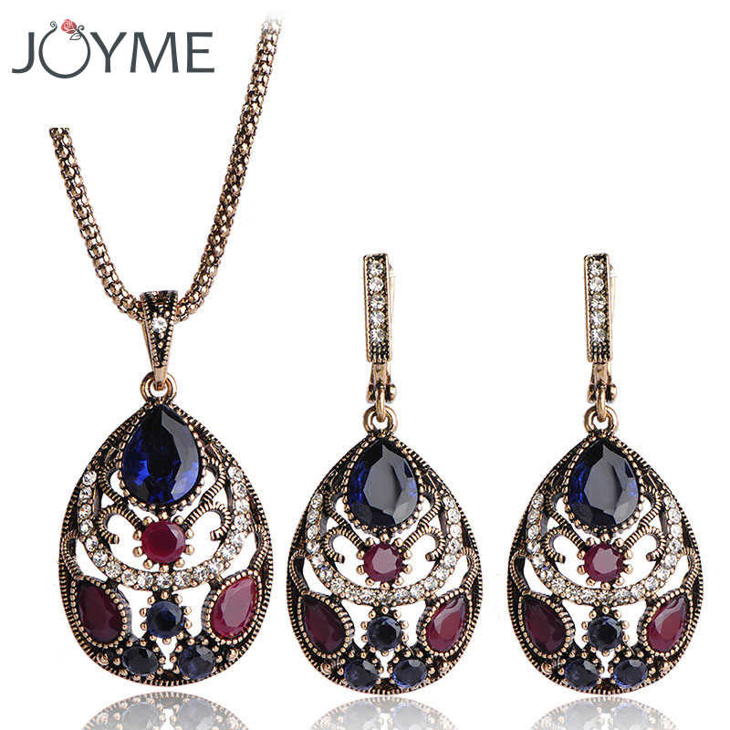 Luxury Vintage Jewellery Sets for Women Earring Necklace Set With Stones Dubai Gold Antique Red Wedding Turkish Jewelry