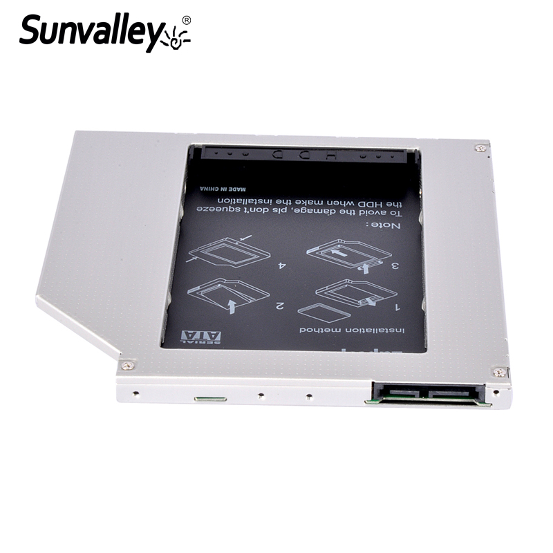 Sunvalley Universal 2nd HDD Caddy 9mm/9.5m SATA to SATA SSD Case Support 2TB Hard Drive Case DVD/CD-ROM Optical Bay For Laptop universal 9 5mm aluminum 2nd 2 5 sata 3 0 hdd ssd hard drive caddy case bay enclosure for notebook odd cd rom replacement