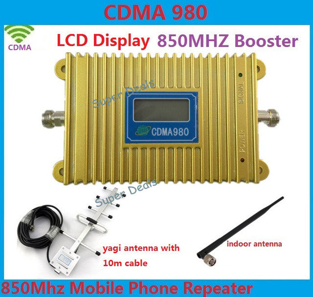 LCD display new model CDMA 980 850Mhz mobile phone signal booster repeater amplifier with 10 dBi 5 units Yagi Antenna