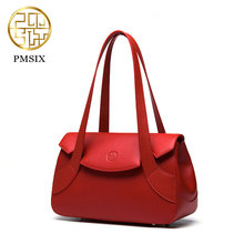 Pmsix 2017 Mulheres Do Couro Bolsa de Ombro Pequenas Bolsas de couro rachado da Vaca Vermelha Sacos de Noiva de Luxo estilo Chinês P220012