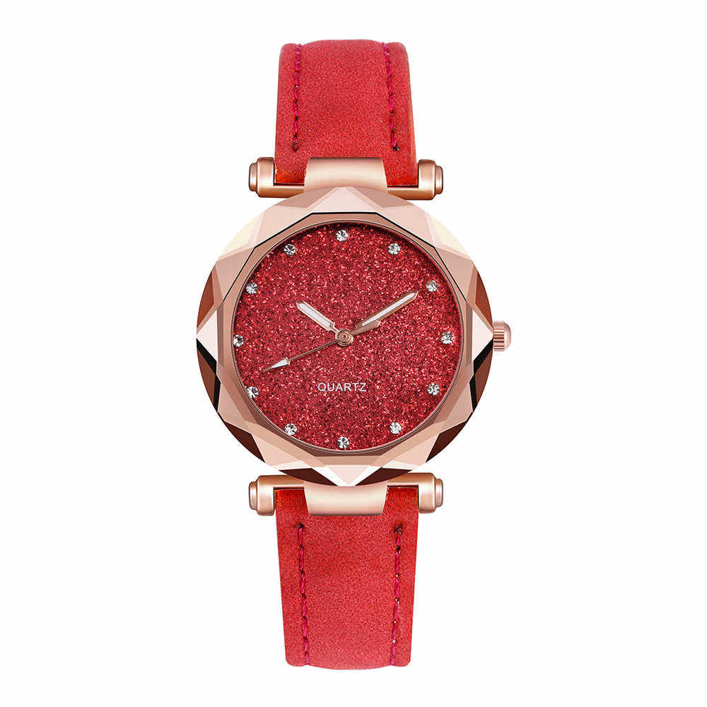 Ladies fashion starry sky watch Korean Rhinestone Rose Gold Quartz Watch Female Belt Wrist Watches montre bracelet femme 03*