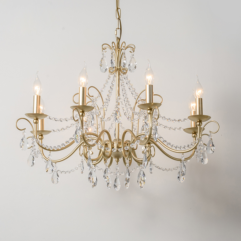American Crystal Chandelier Living Room Restaurant Iron King Golden Continental Bedroom Study Nordic simple personality lighting iron king ik308