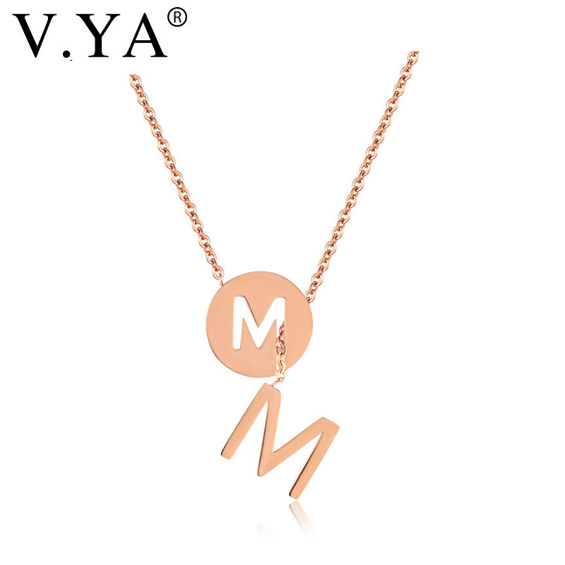 V.Ya Sweet Capital Initial Round M Letter Necklaces For