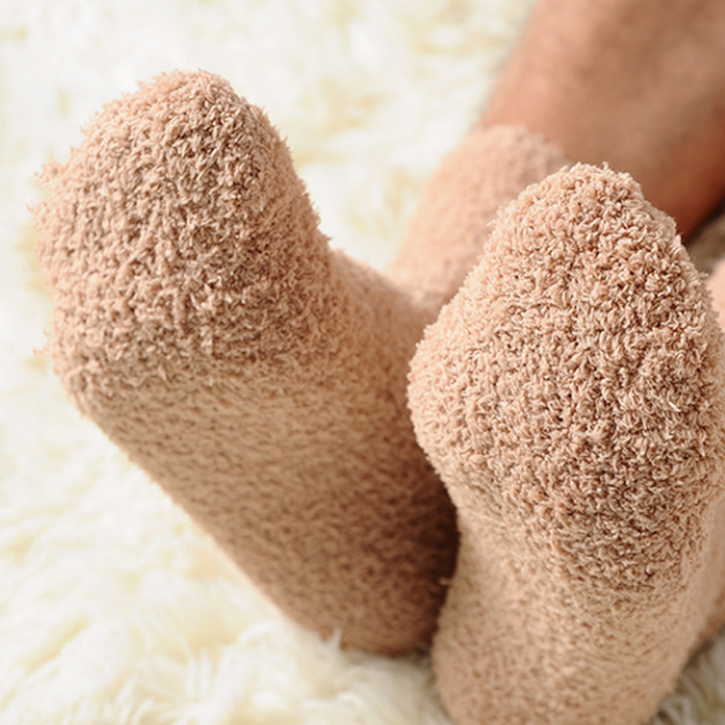 Men Thicken   Socks   Fashion Winter Warm Coral Fleece Fluffy Solid Color Sleep Male Bed   Socks   Calcetines