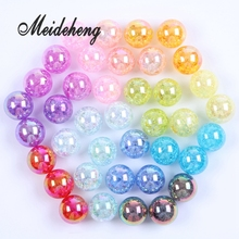 Acrylic Big Hole AB Color Plating Rainbow Surface Crack Popping Beads DIY Jewelry Making Hair Band Headwear Accessories
