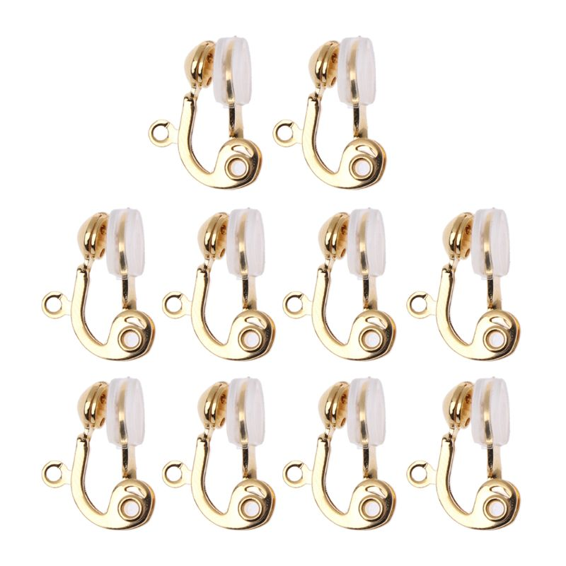 ANGELADY 10Pc Clip-on Earring Converter Non-pierced Ear Hoop With Comfort Earring Cushion
