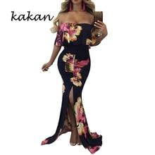 Kakan summer new womens sexy print dress One-shoulder fishtail mopping irregular ruffle