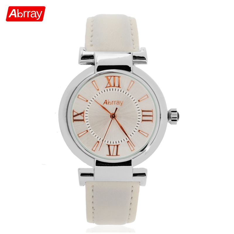 61fc35bb0f09 Abrray Fashion Casual 3ATM Waterproof Women Watch Roman Numerals Scale  Watches White Red Color Leather Strap Quartz Wristwatches