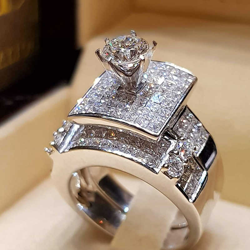 Tisonliz 2PCs/set Zircon Silver Couple Rings Wedding Set Ring Of Women Lover Engagement Ring Men Bague Femme Jewelry Girls Gifts