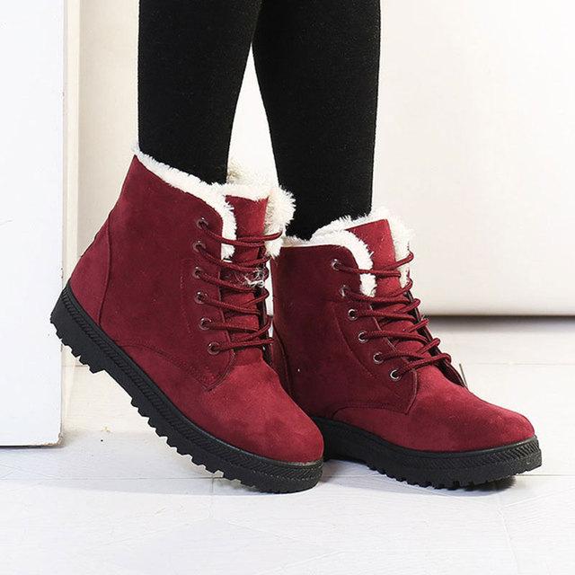Mode fell winter schnee stiefel lace-up heels stiefel frauen 2018 frauen  knöchel stiefel winter 5f0850f66f