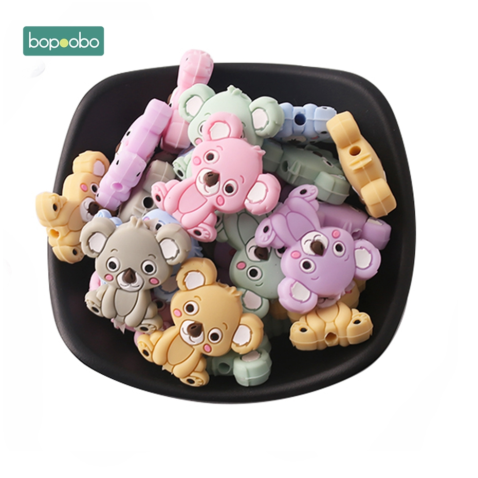 Bopoobo 3pc Silicone Mini Koala Teether Silicone Teething Beads Silicone Pearls Nursing Gifts Silicone Rodents Baby Teether